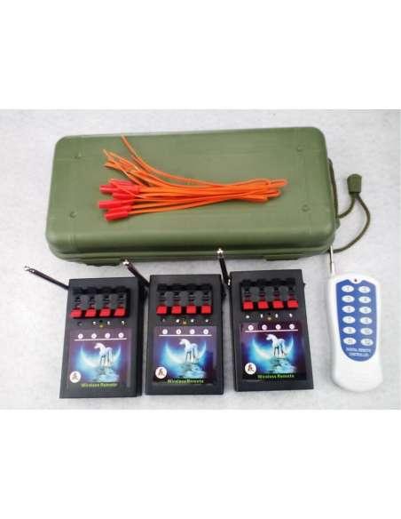 Pack de 3 sistemas de disparo con 4 canales más maleta transporte