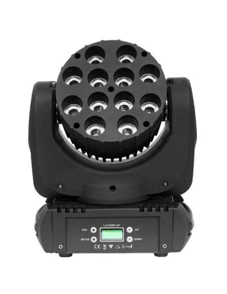Cabeza móvil LED BEAM 12 LED 12W RGBW Flight Case Regalo