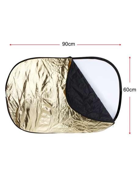 Reflector Fotografía Ovalado 60x90 cm Plegable 5 en 1