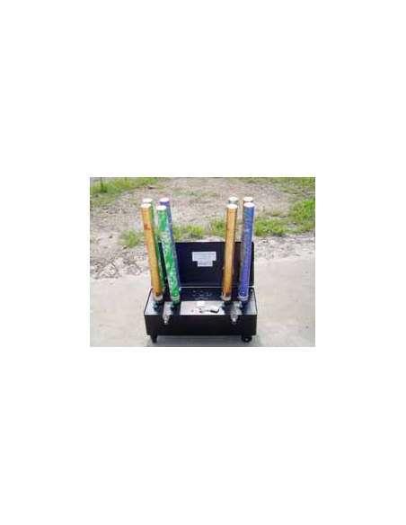 Máquina para disparo de 8 cañones de confetti con batería. Maleta Metal