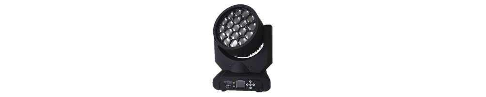 Cabezas móviles LED WASH, desde 10W a más de 300W.Con zoom y pixelables